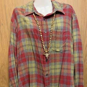 Old Navy Flannel Plaid Long Sleeves Blouse